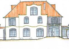 Fassadengestaltung Umbau eines Bestandsgebäudes. Entwurf und Zeichnung: F. Grimm