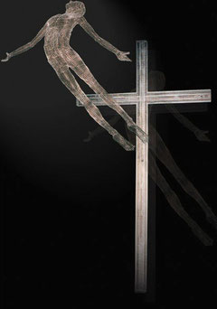 Resurrection of Christ. Altarpiece. 2002. Wire mesh, river stones, copper. 500 x 200 x 150cm. Catholic Parish, Eltham, Victoria. © Charles Rocco