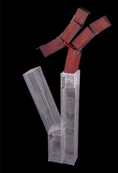 The French Kiss. 2004. Wire mesh, steel, red gum, river stones. 200 x 150 x 20cm. Private Collection. © Charles Rocco