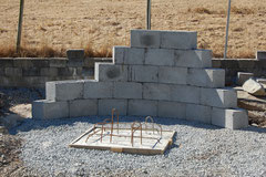 Curved cinder blocks