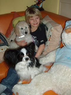 Aicha & Bambuli mit Frauchens Sohn Jimmy