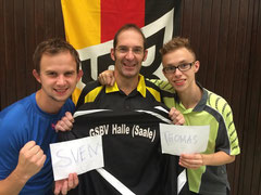 GSBV-Mannschaft mit Begrüßungszettel für nichtteilnehmenden Sven Z. und Thomas S.