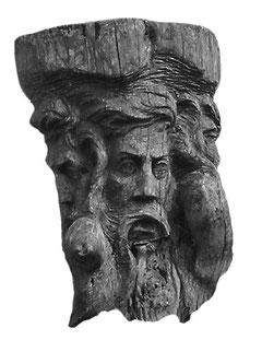 Svantovit, der vierköpfige Hauptgott der Ranen (ehemalige Holzskulptur am Kap Arkona)
