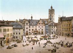 Marktplatz in Darmstadt um 1900