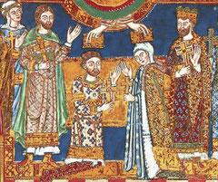 Krönung von Heinrich dem Löwen und Mathilda. (aus dem Evangeliar Heinrichs des Löwen, um 1188)