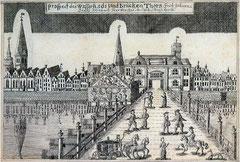 Weserbrücke; Federzeichnung von Johann Daniel Heinbach