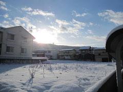 雪の蔵王から日が昇る