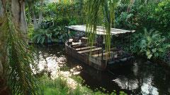 Leipzig Zoo Tropenhalle Gondwanaland Boot auf Fluß