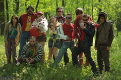 Hipster-Party im Wald
