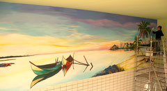 Muurschilderijen Zwembad
