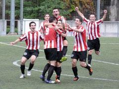 Los jugadores del Pasaia celebran el gol ante el Arenas de la pasada jornada. Foto: cdpasajes.wordpress.com