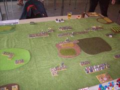 Kurz nach Spielbeginn: Meine Infanterie auf dem Weg zu ihren neuen Positionen