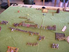 Die Situation nach der ersten Flankenattacke.