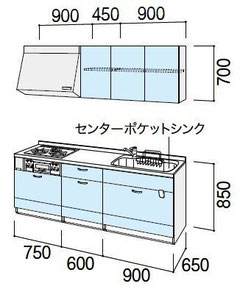 キッチンセットの寸法  メーカーカタログから