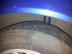 Neumático deformado en diagnonal