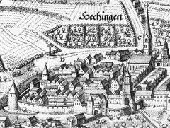 Östlicher Bereich der ummauerten Stadt Hechingen, Kupferstich von Matthäus Merian, um 1650, gemeinfrei