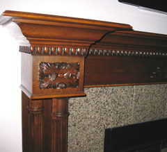 wooden mantel detail