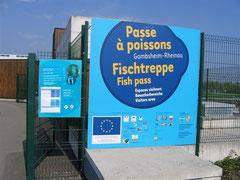Eingang zum Besucherzentrum Fischtreppe Staustufe Gambsheim/Rheinau