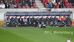 Die Bank der SGE vor dem Spiel VfB - SGE am 21.03.2015