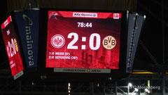 Stadionwürfel mit Begrüßungstext zum Spiel gegen den BvB am 30.11.14