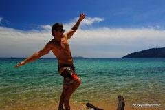 Nach Singapore erholen wir uns am Strand auf Pulau Tiamon