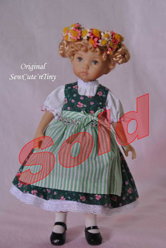 75.00 USD: Dirndl Dress with blouse and smocked apron