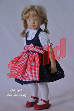 60.00 USD: Dirndl Dress, underdress and smocked apron
