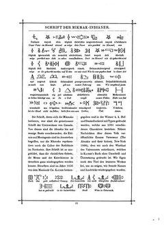 Seite aus Carl Faulmanns Buch der Schrift von 1880, auf der das Vaterunser in Schrift und Sprache der Mi'kmaq abgebildet ist