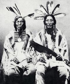 Diese beiden Mandan gehörten zu den 31 Überlebenden ihres einst 1 600 Köpfe starken Stammes, der 1837 von den Pocken heimgesucht worden war. Derselben Seuche fielen etwa die Hälfte der 4 000 benachbarten Ankara und Hidatsa zum Opfer.