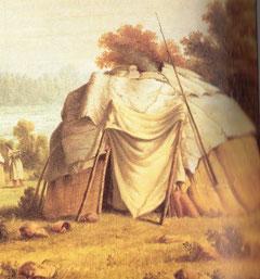 Wigwam der Anishinabe (Ojibwe), 1846