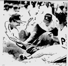 Pete Rose is tagged out trying to advance to third on Bake McBride's single.