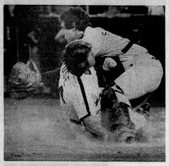 Pete Rose is tagged out by the Dodgers' Mike Scioscia in the second inning.