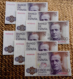 5000 pesetas 1979. Series 9A, 9B, 9C, 9D, 9E y 9F