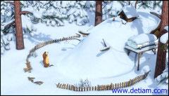 Дом Медведя превратился в большую гору снега.