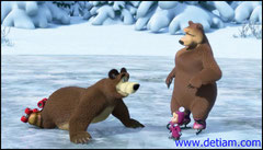 Медведь вскочил и упал.