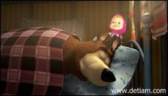 Маша принялась будить Медведя - дёргая его за уши
