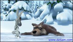 Лапы волка разъезжались на льду, и он никак не мог поймать зайку