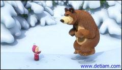 Медведь запрыгал, изображая зайчика.