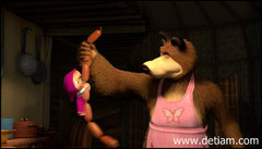Медведь из холодильника вытащил Машу ухватившуюся за сардельки