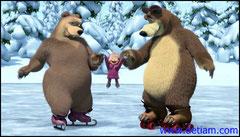 Добрый Медведь и медведица стали учить Машу кататься на коньках