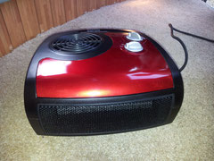 Ceramic heater on warm carpet