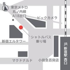 新宿駅からシャトルバス乗り場への地図