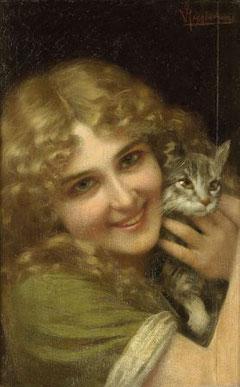 VITTORIO REGGIANINI - Donna con gatto