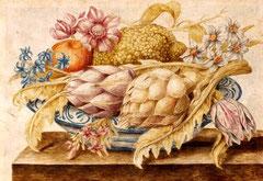 OCTAVIANUS MONFORT Piatto con cedro, arancia, fiori e carciofi (1600)