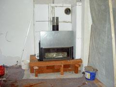 Das tragfähige Gerüst der späteren Sitzbank besteht aus Ziegelplatten (Hourdisplatten)