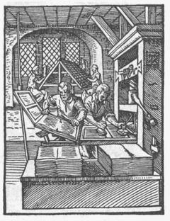 Jodokus Amman, Drucker-Werkstatt im 16. Jh.