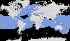 Karte zur Verbreitung der Familie der Tölpel