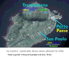 foto aerea di Ustica  con le indicazioni delle ville