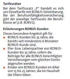 Auszug aus dem Antragsformular SBU für BONUS-Kunden der Württembergische
