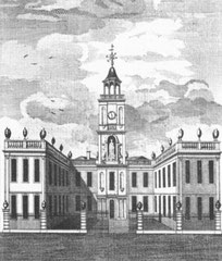 The Free School replaced the timber-framed Guild Hall c1707. Image from William Hutton 1783 An History of Birmingham, a work now in the public domain.